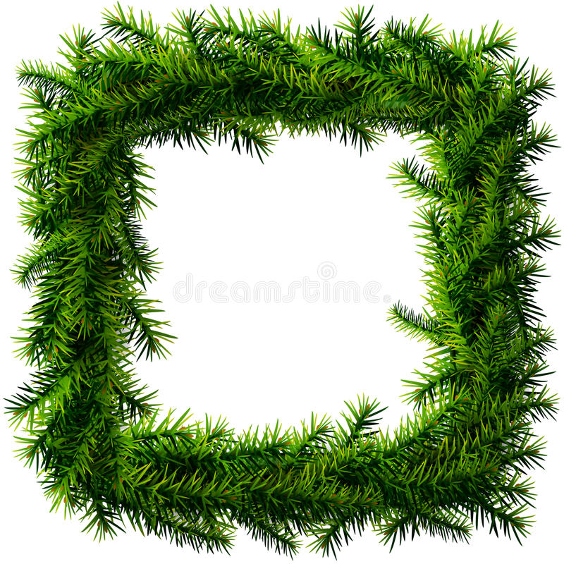 圣诞节没有装饰的正方形花圈 库存例证