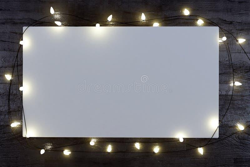 圣诞节海报的白色嘲笑 免版税库存图片