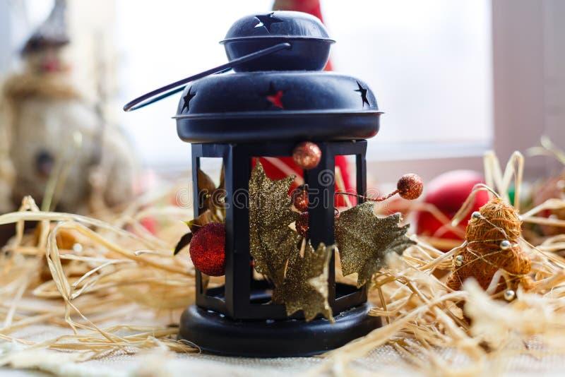 圣诞节灯灯笼装饰 免版税库存照片