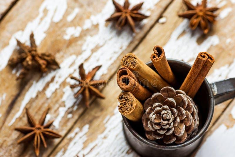 圣诞节烘烤成份装饰肉桂条驱散了茴香星在葡萄酒水罐的杉木锥体在斯诺伊木头背景 库存图片