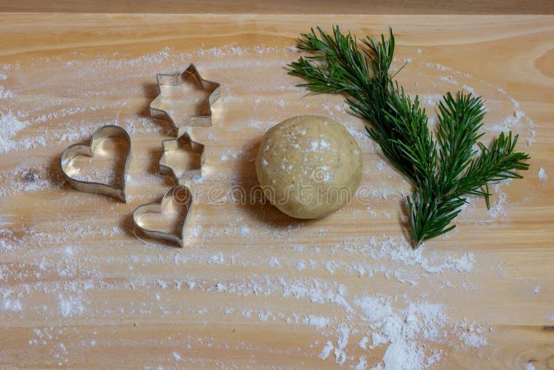 圣诞节烘烤背景 烹调的圣诞节b成份 库存图片