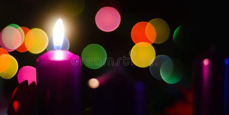 圣诞节烛光焰 图库摄影