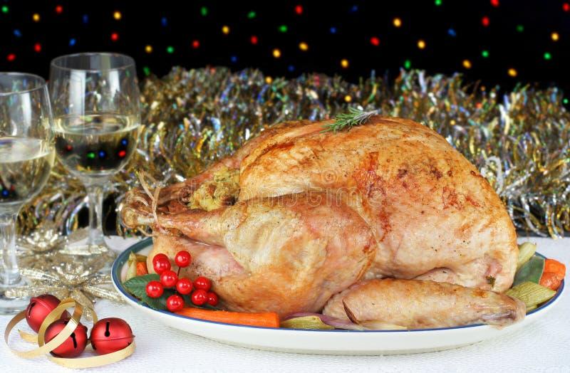 圣诞节烤了全部被充塞的火鸡 库存图片