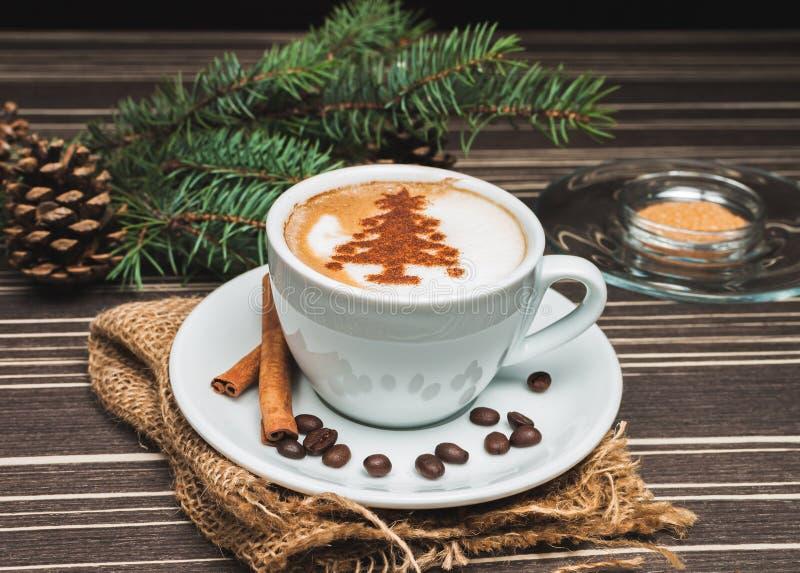 圣诞节热奶咖啡 免版税库存图片