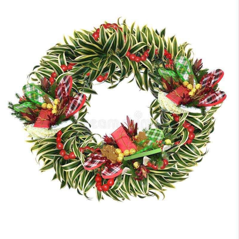 圣诞节热带花圈 免版税图库摄影
