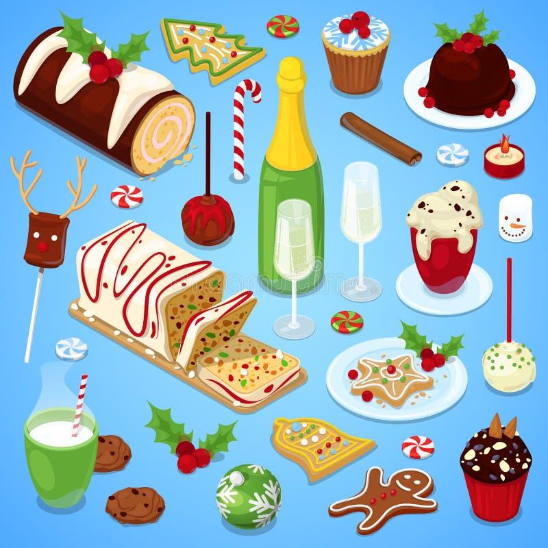 圣诞节烹调欢乐晚餐 免版税库存图片