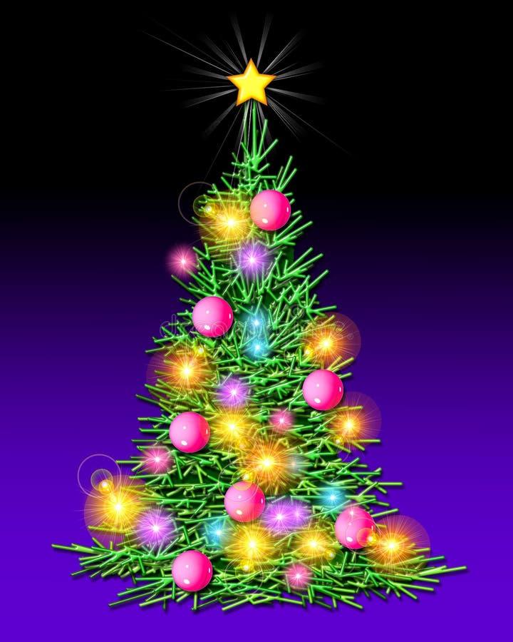 圣诞节照亮了结构树 库存例证