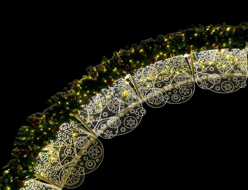 圣诞节照明在晚上 免版税库存图片