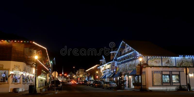 圣诞节照明设备在Leavenworth 库存照片