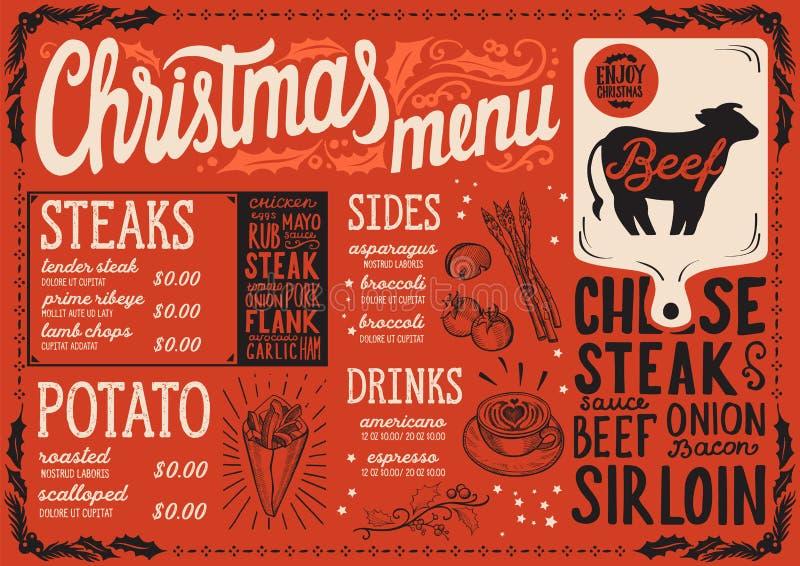 圣诞节牛排餐馆的菜单模板 向量例证
