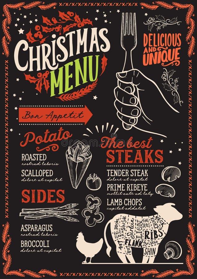 圣诞节牛排餐馆的菜单模板 库存例证