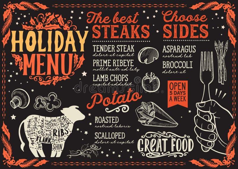 圣诞节牛排餐馆的菜单模板 皇族释放例证