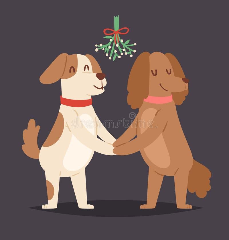 圣诞节狗传染媒介爱情人节夫妇亲吻逗人喜爱的动画片小狗字符男孩的和女孩例证宠爱小狗 库存例证