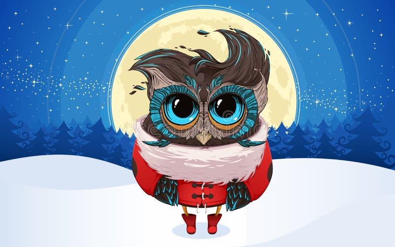 圣诞节猫头鹰在圣诞老人随员 皇族释放例证