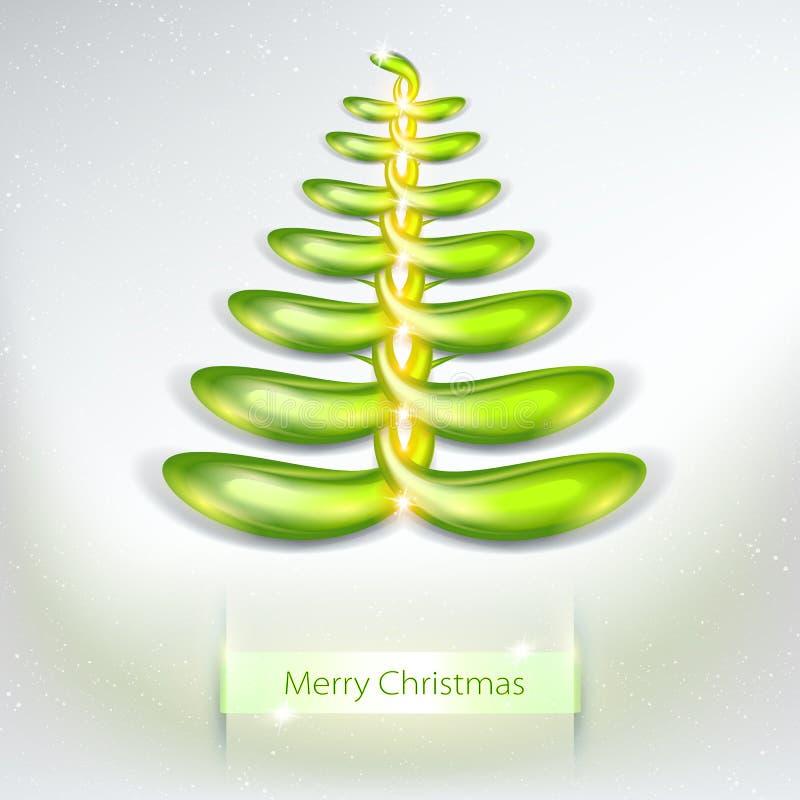 圣诞节现代结构树 3D摘要和被照亮的圣诞树传染媒介 现代的例证 向量例证