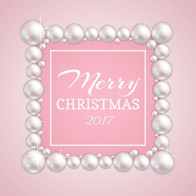圣诞节珍珠框架 导航时尚婚姻,周年或者邀请的珍珠边界 皇族释放例证