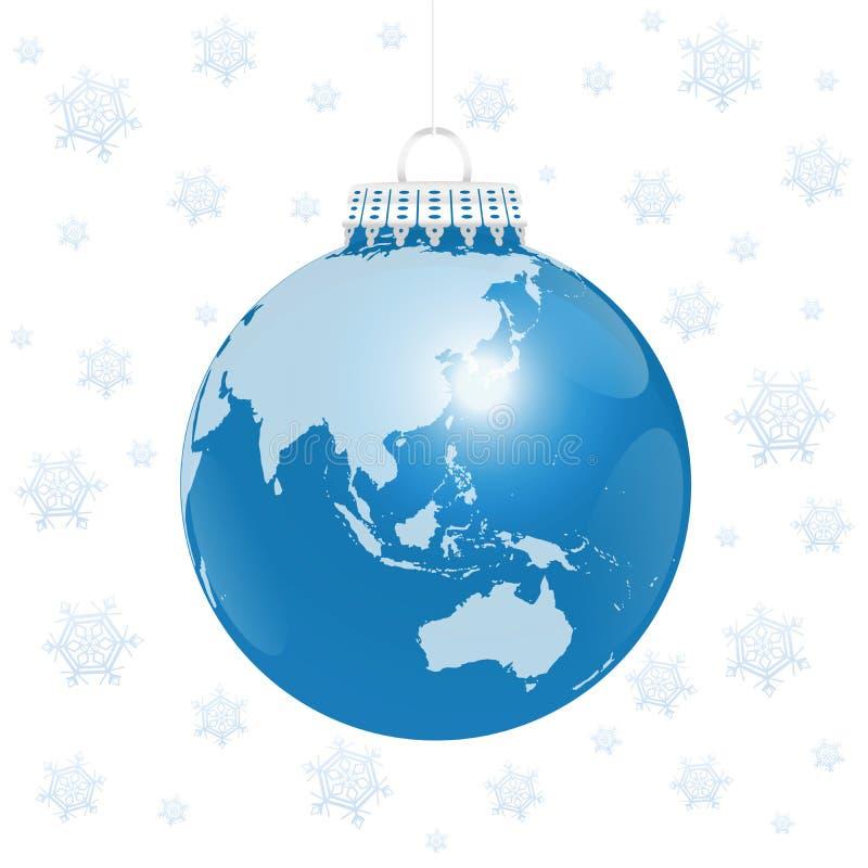 圣诞节球亚洲澳大利亚世界雪 向量例证