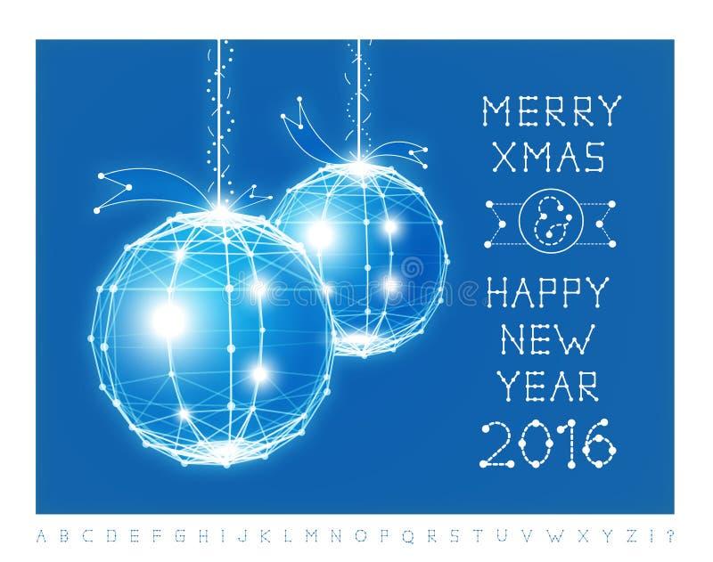 圣诞节球传染媒介例证和字体 向量例证