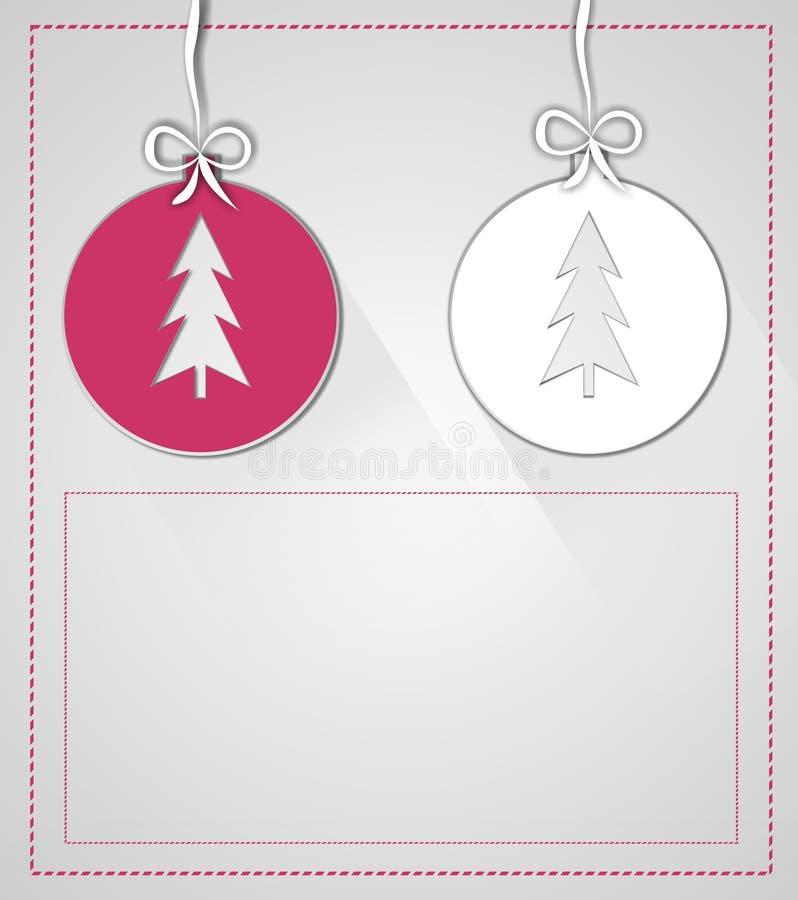 圣诞节球例证由招呼的纸制成 库存照片