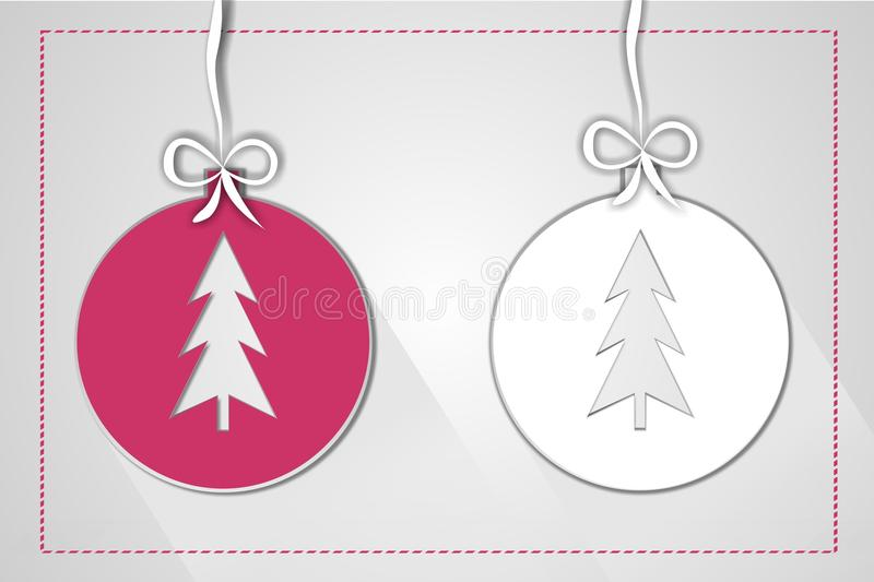 圣诞节球例证由招呼的纸制成 库存图片