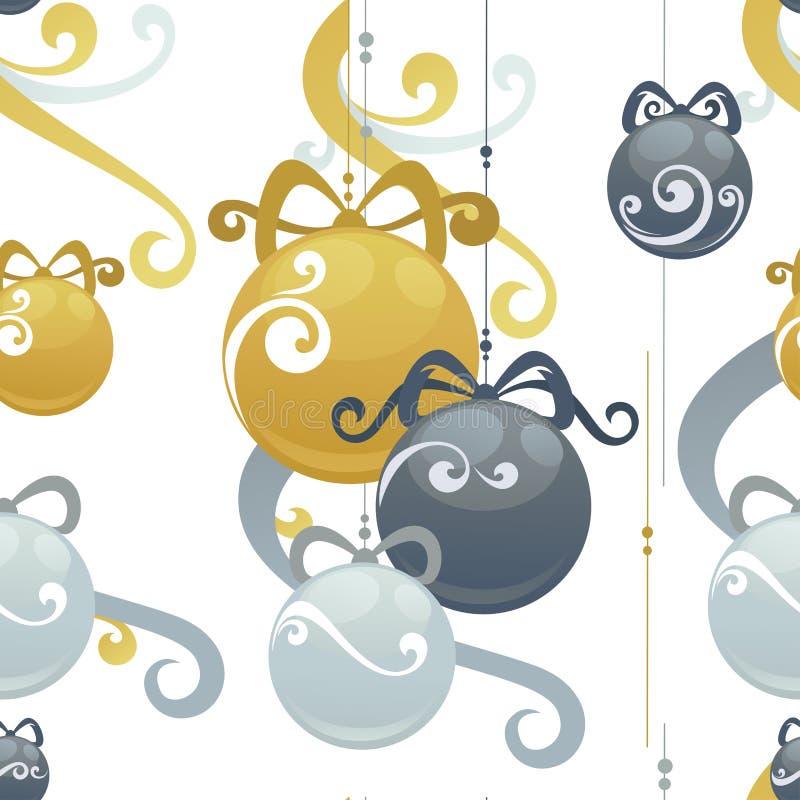 圣诞节球假日装饰传染媒介无缝的样式 皇族释放例证