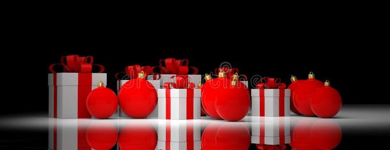圣诞节球和礼物在黑背景 3d例证 向量例证