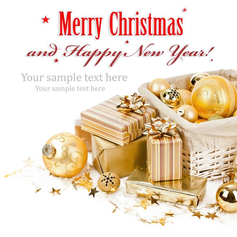 圣诞节球和礼物 免版税库存图片