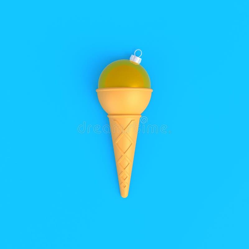 圣诞节球在冰淇淋锥体摘要最小的蓝色背景中 向量例证