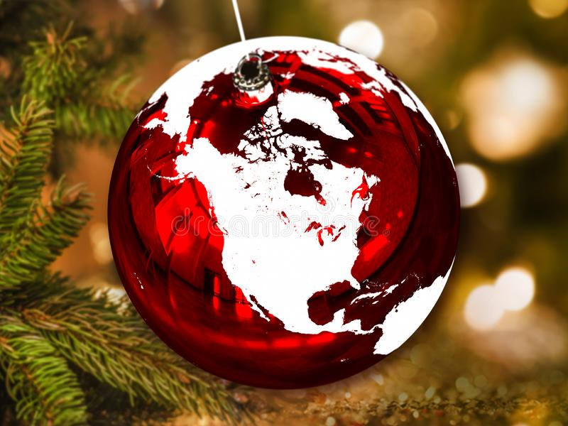 圣诞节球的北美洲 免版税图库摄影