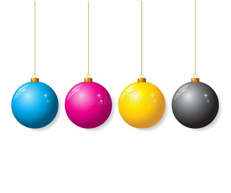 圣诞节球的CMYK收集 皇族释放例证