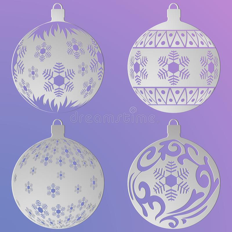 圣诞节球设置与雪花和卷毛,被删去纸 库存例证