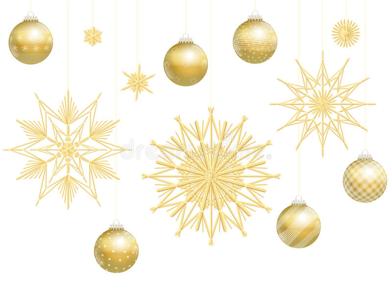圣诞节球金黄秸杆担任主角装饰 库存例证
