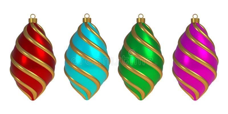 圣诞节球除夕装饰卷积线中看不中用的物品冬天垂悬的装饰物纪念品 向量例证