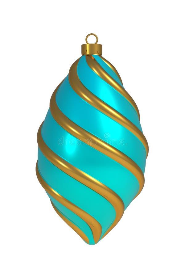 圣诞节球除夕装饰金黄蓝色卷积线中看不中用的物品冬天垂悬的装饰物纪念品 库存例证