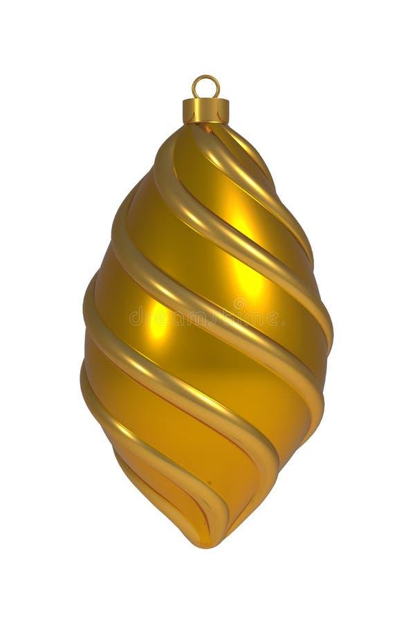 圣诞节球除夕装饰金黄黄色卷积线中看不中用的物品冬天垂悬的装饰物纪念品 向量例证