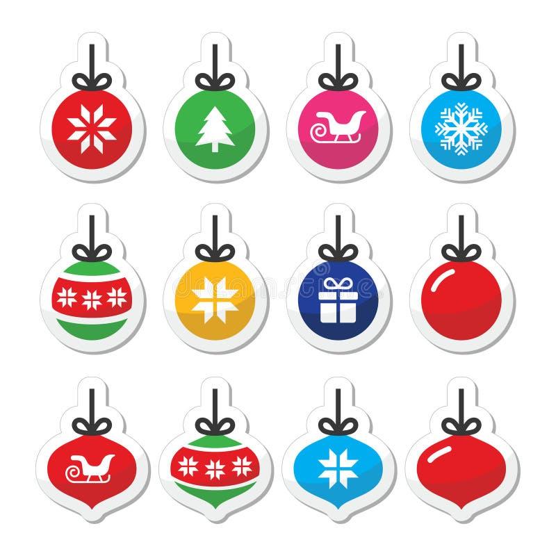 圣诞节球,圣诞节被设置的中看不中用的物品象 向量例证