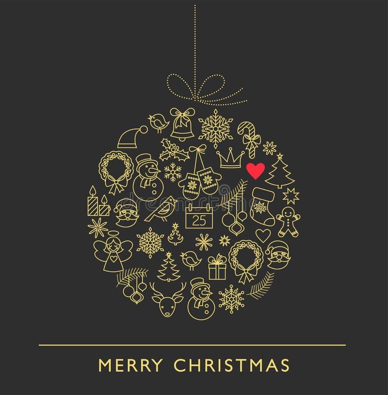 圣诞节球-黑白线象 库存例证