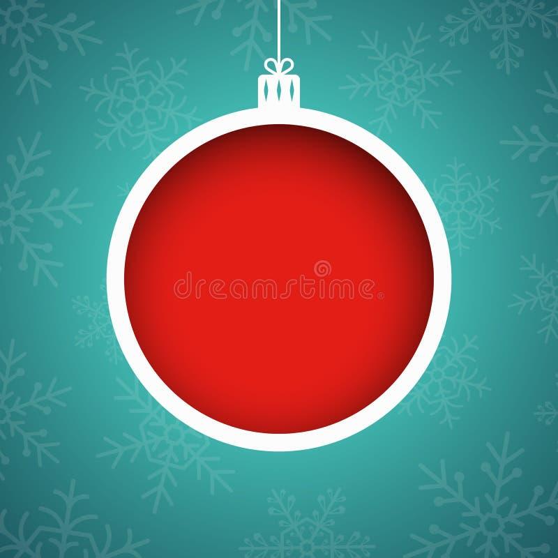 圣诞节球 纸剪报 抽象横幅新年度 在蓝色背景的雪花 向量 皇族释放例证