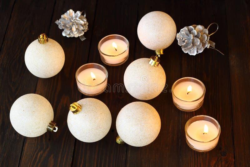 圣诞节球x-mas和新年好 免版税库存图片