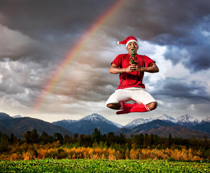 圣诞节瑜伽 库存图片