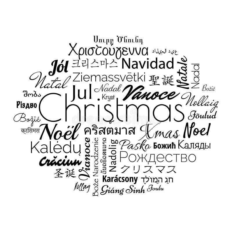 圣诞节用不同的外语 库存例证