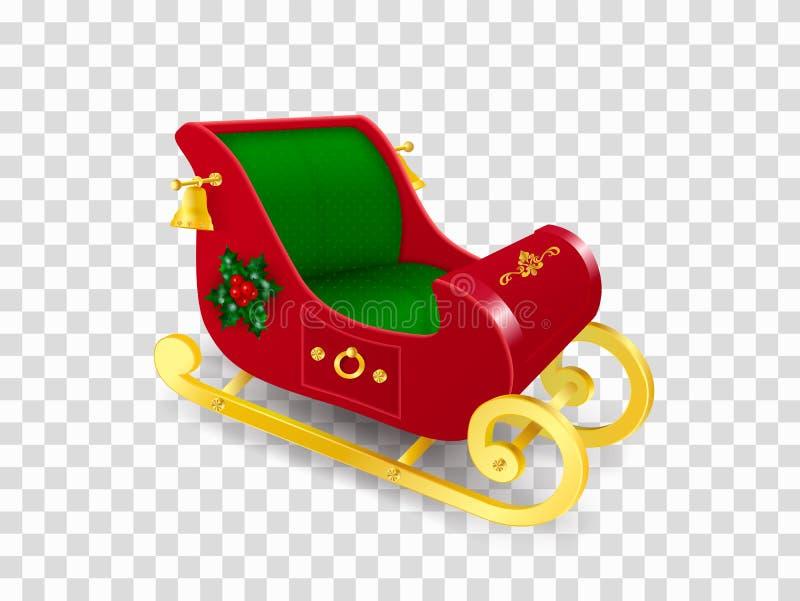 圣诞节用霍莉叶子与金子滑行的圣诞老人项目雪橇装饰的和莓果、装饰品和金铃 现实传染媒介 库存例证