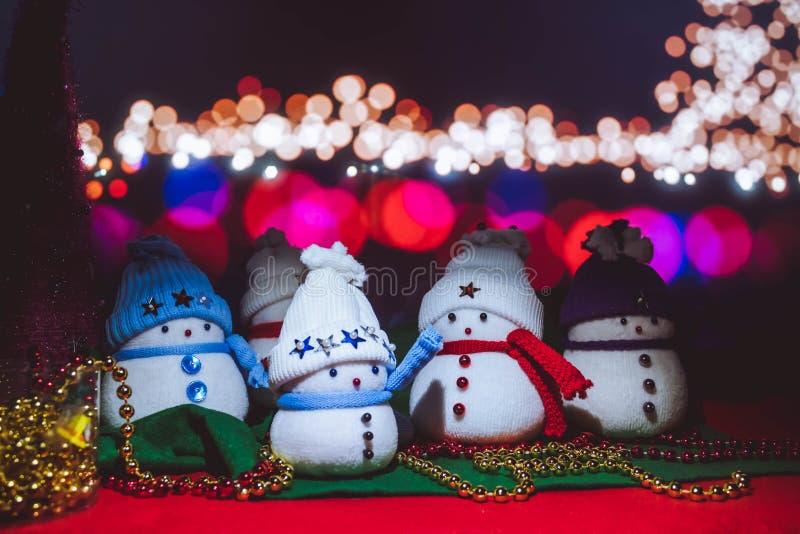 圣诞节田园诗,雪人人造 免版税图库摄影