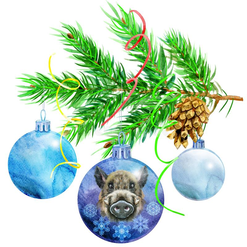 圣诞节电灯泡水彩例证 与圣诞树分支的中看不中用的物品 皇族释放例证