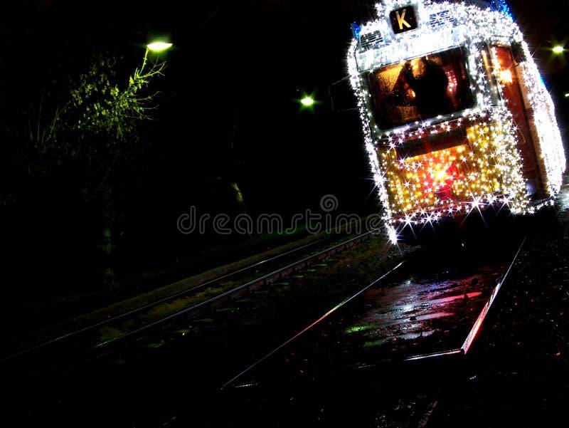 圣诞节电车在布达佩斯 免版税库存图片