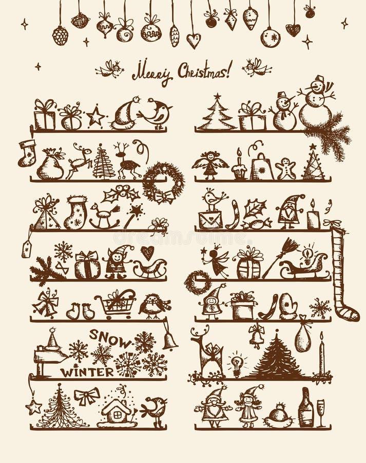 圣诞节界面,您的设计的略图 向量例证