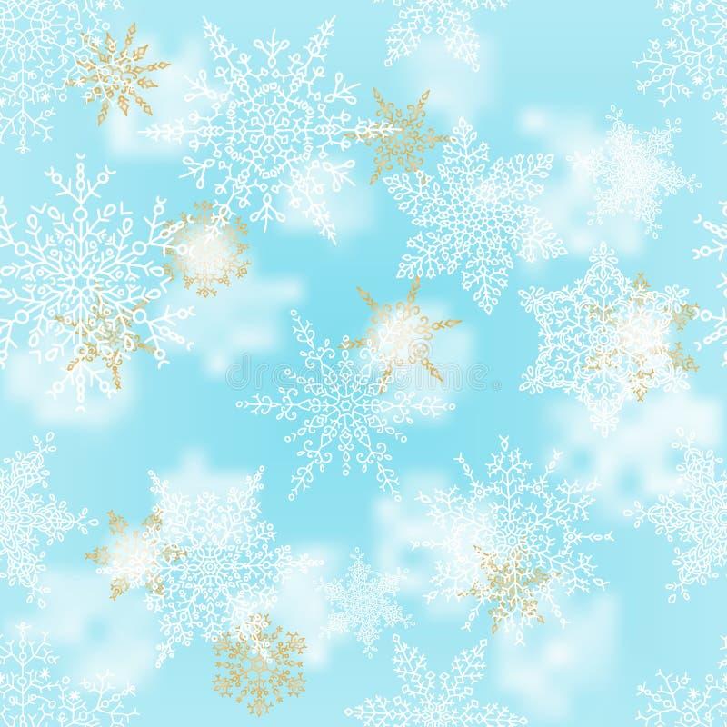 圣诞节白色和金雪花在迷离蓝色背景 寒假样式 2007个看板卡招呼的新年好 也corel凹道例证向量 库存例证