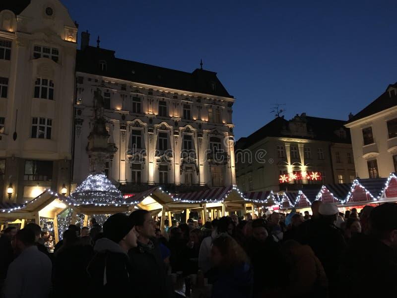 圣诞节的布拉索夫大广场 库存照片