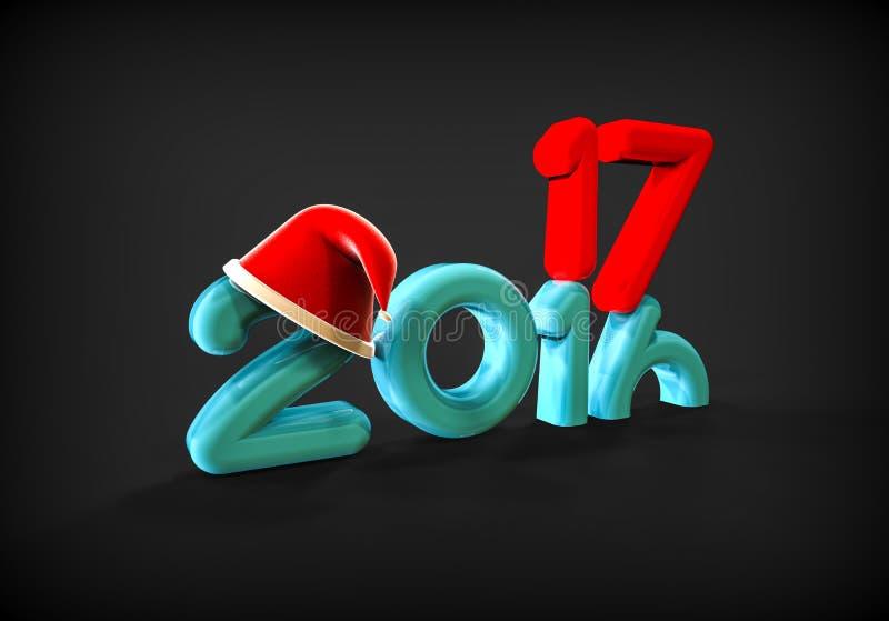 圣诞节的新年2017年 库存例证
