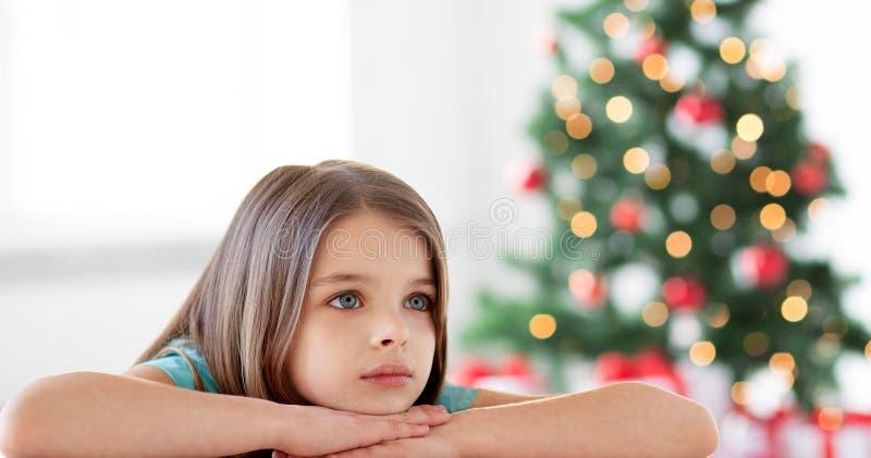 圣诞节的美丽的哀伤或乏味女孩 库存照片